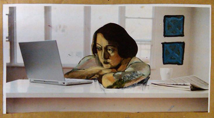 "Interactive (Study), 2009, Collage on Cardboard, 11""x16"""